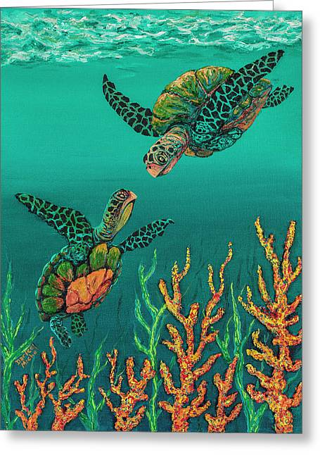 Greeting Card featuring the painting Turtle Love by Darice Machel McGuire