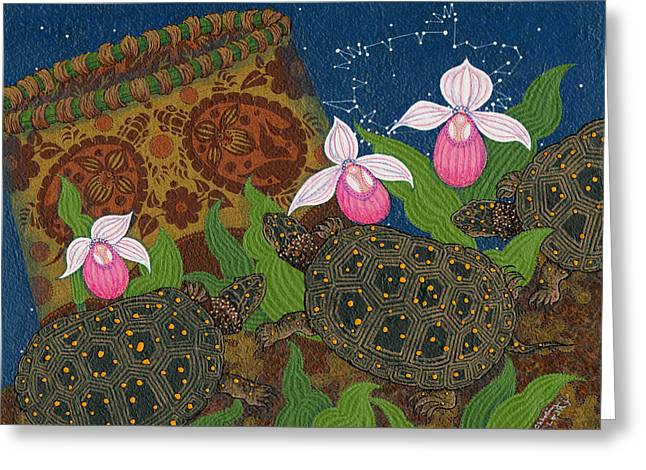 Greeting Card featuring the painting Turtle - Mihkinahk by Chholing Taha
