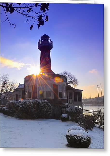 Turtle Rock Light House At Sunrise Greeting Card