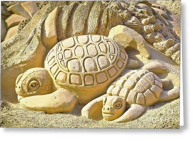 Turtle Sand Castle Sculpture On The Beach 999 Greeting Card