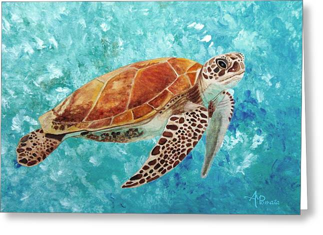 Greeting Card featuring the painting Turtle Swimming by Angeles M Pomata