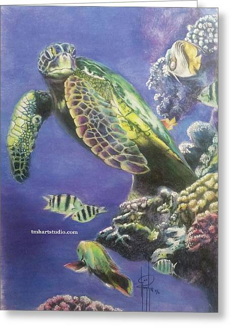 Turtle Greeting Card by Tami Hughes