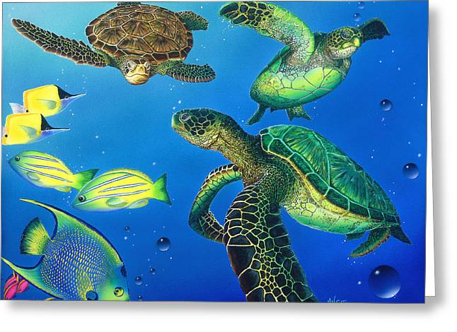 Turtle Towne Greeting Card by Angie Hamlin