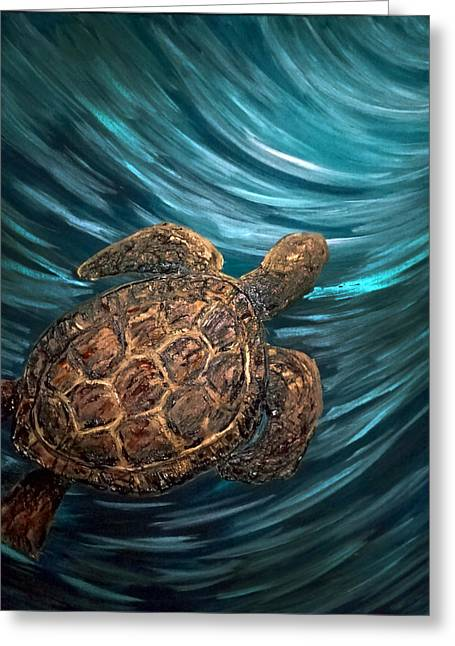 Turtle Wave Deep Blue Greeting Card