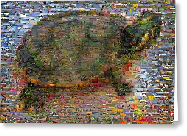 Greeting Card featuring the mixed media Turtle Wild Animals Mosaic by Paul Van Scott