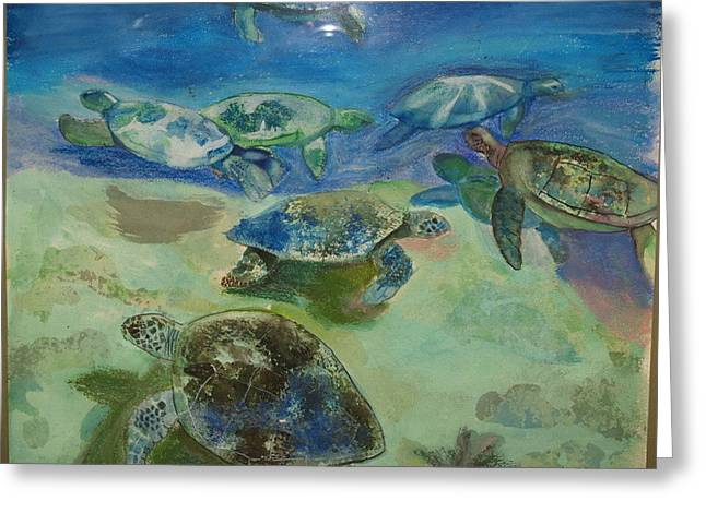 Turtles Greeting Card by Aline Kala