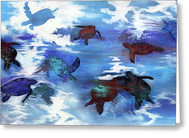 Turtles In Heaven Greeting Card by Darren Mulvenna