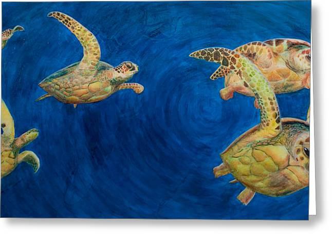 Turtles Greeting Card by Julia Collard