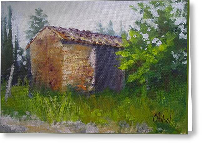 Greeting Card featuring the painting Tuscan Abandoned Farm Shed by Chris Hobel