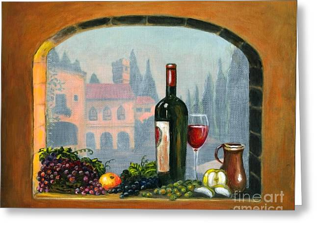 Italian Art Greeting Cards - Tuscan Arch Wine Grape feast Greeting Card by Italian Art