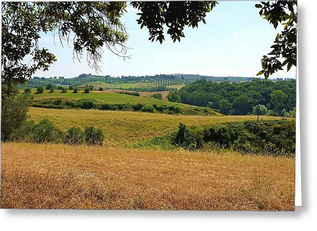 Tuscan Country Greeting Card by Valentino Visentini