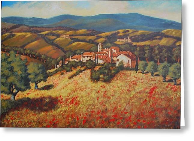 Tuscan Countryside Greeting Card by Santo De Vita