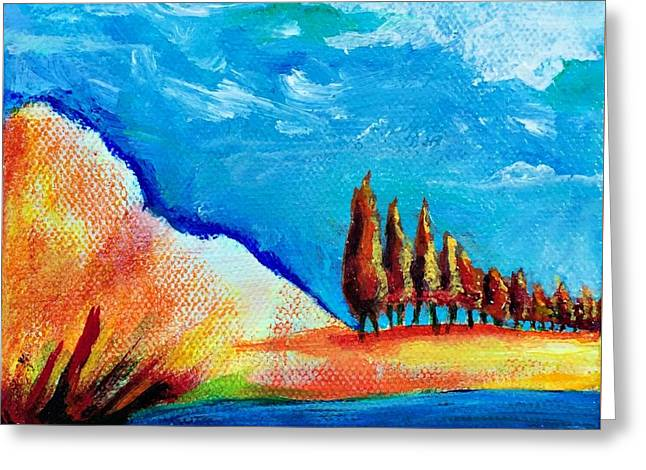 Tuscan Cypress Greeting Card by Elizabeth Fontaine-Barr