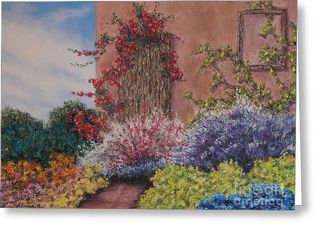 Facades Pastels Greeting Cards - Tuscan Delusions Revisited Greeting Card by Stanza Widen