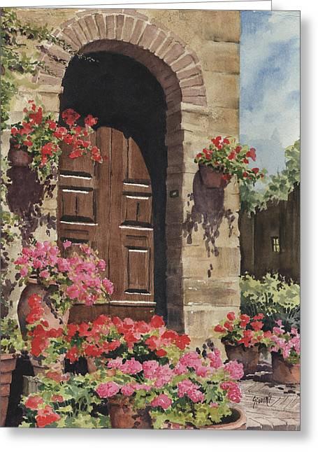 Tuscan Door Greeting Card by Sam Sidders