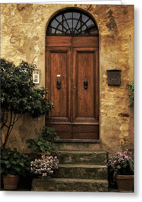 Entrance Door Greeting Cards - Tuscan Entrance Greeting Card by Andrew Soundarajan