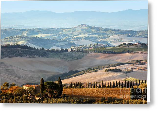Tuscan Farm House, Vineyard At Sunrise Greeting Card