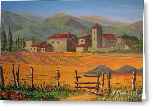 Tuscan Farm Greeting Card by Italian Art