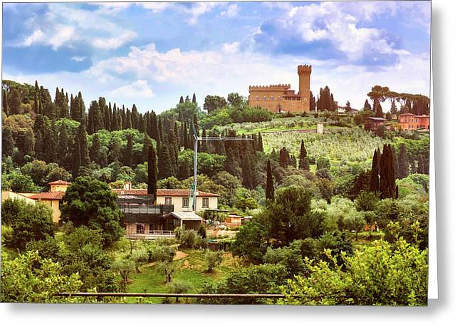 Tuscan Fields And Old Castle In Florence Greeting Card