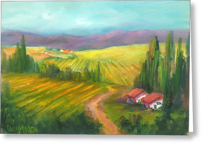 Tuscan Fields Greeting Card by Sally Seago