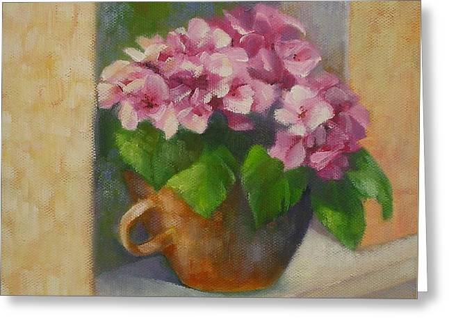 Greeting Card featuring the painting Tuscan Flower Pot Oil Painting by Chris Hobel