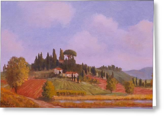 Tuscan Hillside Greeting Card by David Olander