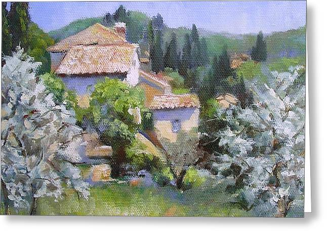 Greeting Card featuring the painting Tuscan  Hilltop Village by Chris Hobel