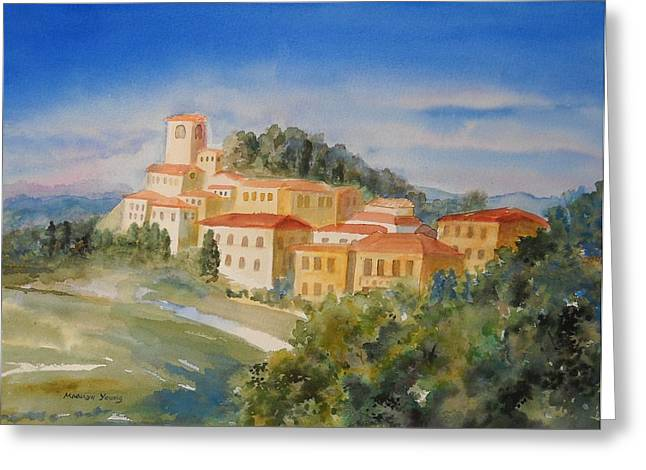 Tuscan Hilltop Village Greeting Card by Marilyn Young
