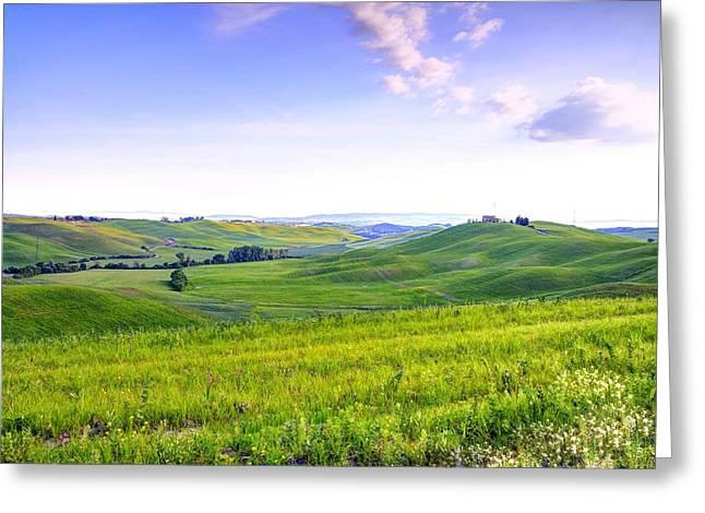Tuscan Landscape In The Crete Senesi Greeting Card