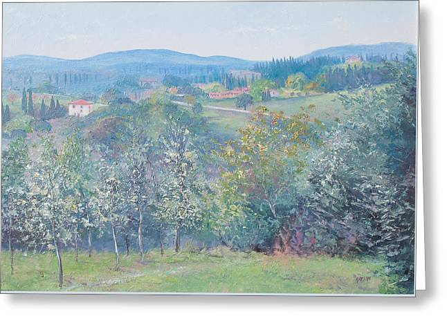 Tuscan Landscape Greeting Card by Jan Matson