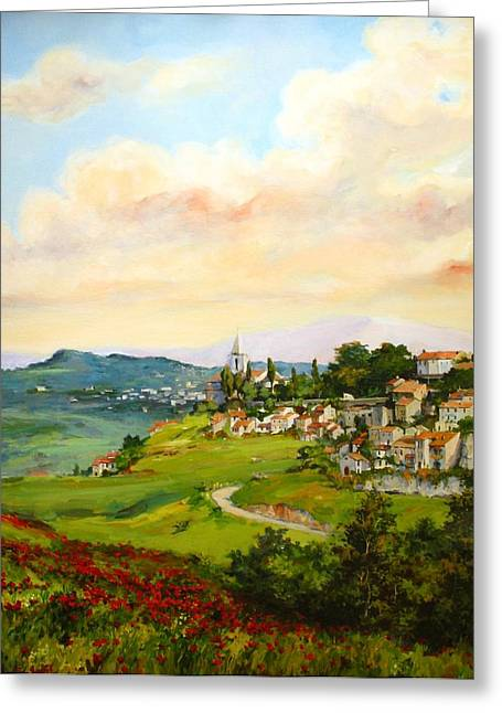 Greeting Card featuring the painting Tuscan Landscape by Tigran Ghulyan