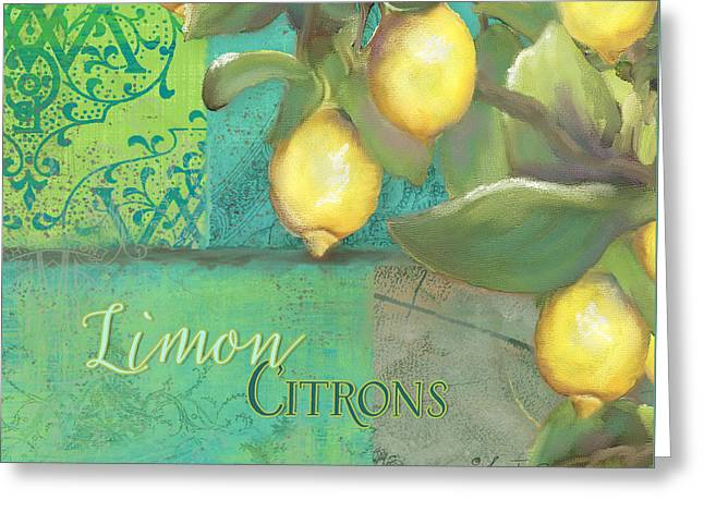 Tuscan Lemon Tree - Damask Pattern 2 Greeting Card by Audrey Jeanne Roberts