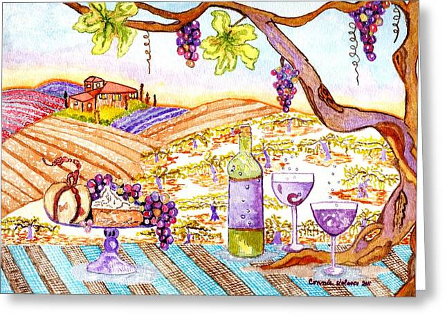 Tuscan Living In Style Greeting Card by Connie Valasco