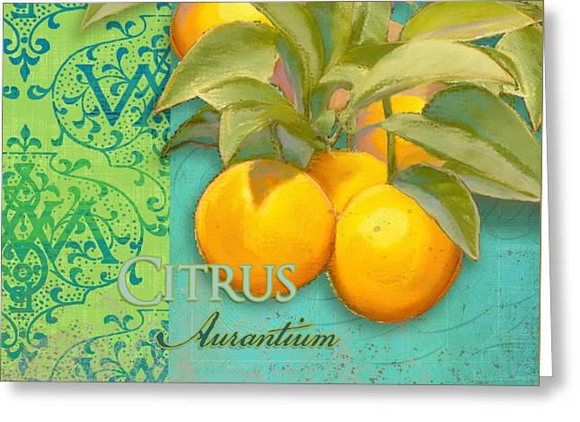 Tuscan Orange Tree - Citrus Aurantium Damask Greeting Card by Audrey Jeanne Roberts