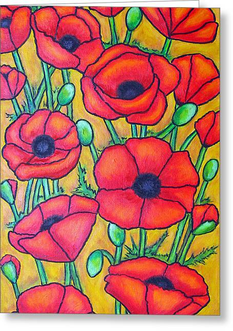 Tuscan Poppies - Crop 1 Greeting Card by Lisa  Lorenz