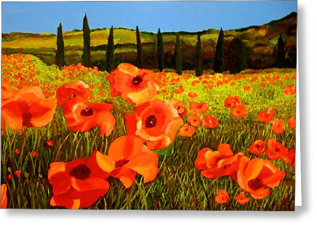 Tuscan Poppies Greeting Card by JoeRay Kelley