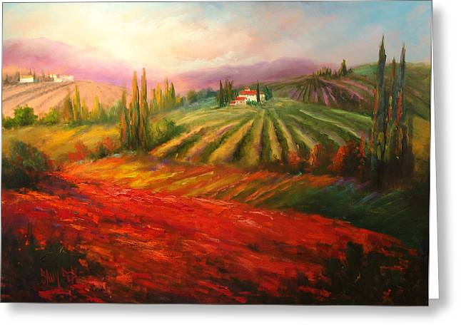 Tuscan Poppies Greeting Card by Sally Seago