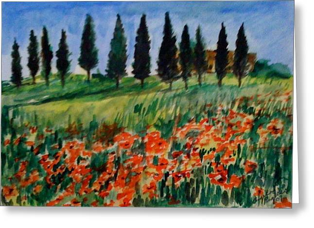 Tuscan Poppies With Poplar Trees Greeting Card by Angela Puglisi