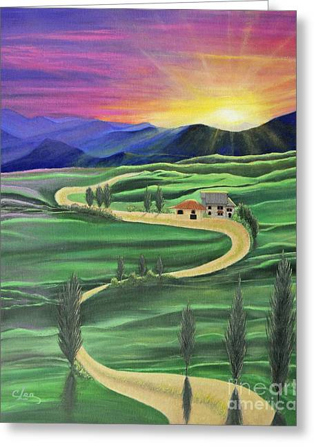 Tuscan Sunset Greeting Card by Cindy Lee Longhini