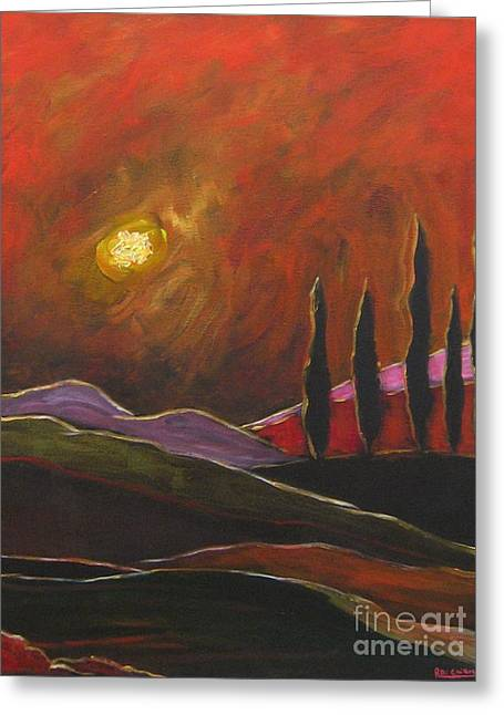 Tuscan Sunset Rage Greeting Card