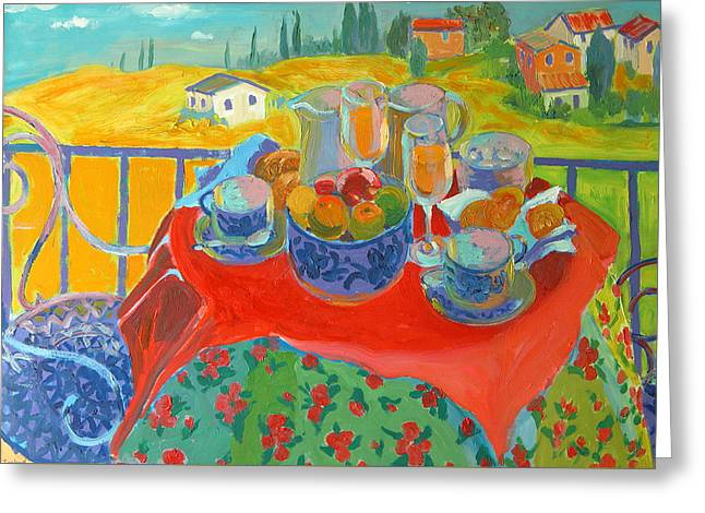 Tuscan Terrace Greeting Card by William Ireland