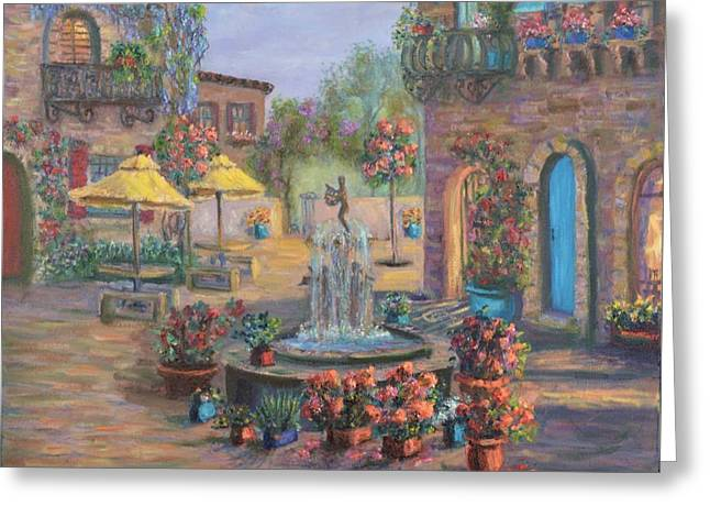 Beautiful Tuscan Villa Flower Garden Fountain Painting Greeting Card