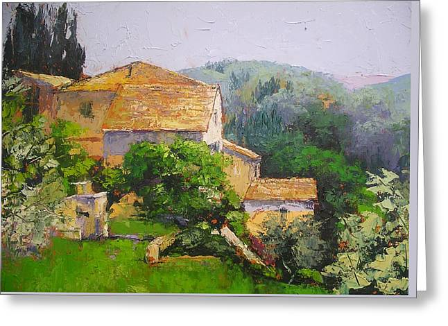 Greeting Card featuring the painting Tuscan Village by Chris Hobel