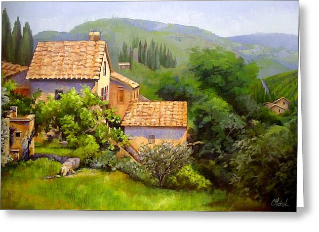 Greeting Card featuring the painting Tuscan Village Memories by Chris Hobel