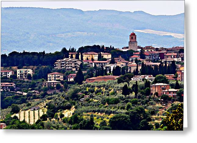 Tuscan Hills Greeting Cards - Tuscan Village with Watercolour Effect Greeting Card by Marion McCristall