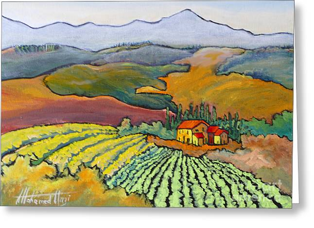 Tuscan Vineyard Greeting Card by Mohamed Hirji