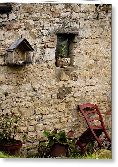 Tuscan Wall Greeting Card by Rae Tucker