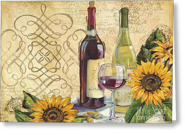 Tuscan Wine And Sunflowers Greeting Card by Paul Brent