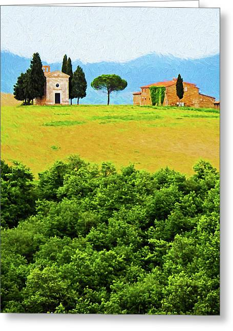 Tuscany Chapel And Farmhouse Greeting Card by Dennis Cox