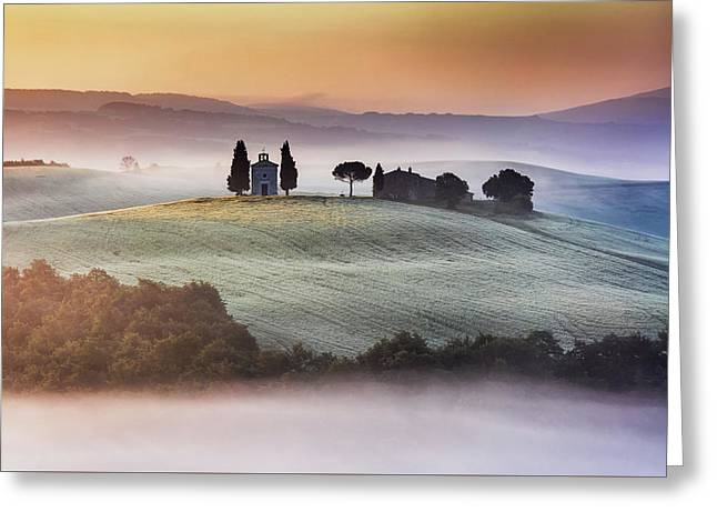 Tuscany Church On The Hill Greeting Card by Evgeni Dinev